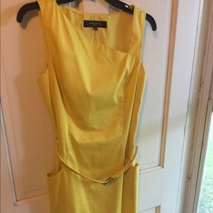 Nine West Yellow Fitted Sleeveless Dress Size 8